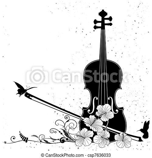 floral, vecteur, composition musicale - csp7636033