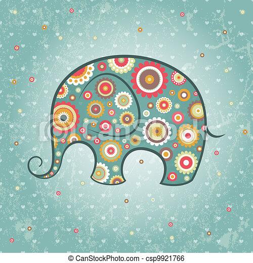 Floral vector elephant - csp9921766