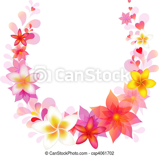 floral, vector, krans - csp4061702
