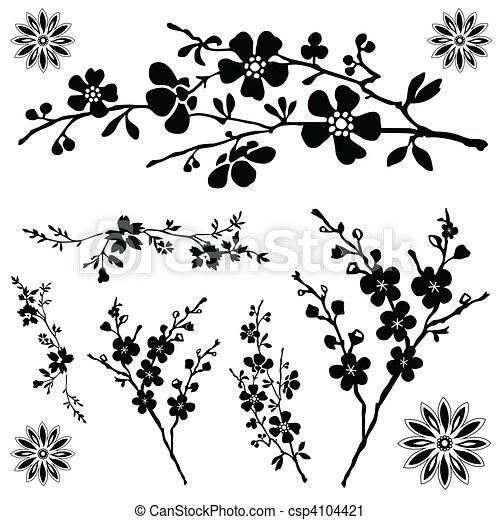 floral, vector, ornamentos - csp4104421