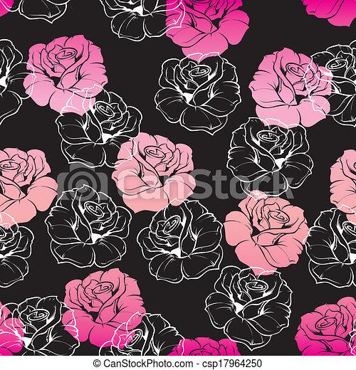 Floral Vector Pink Black Wallpaper Seamless Vector Dark Floral