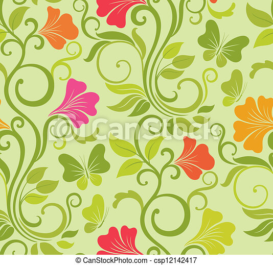 Floral vector seamless background - csp12142417