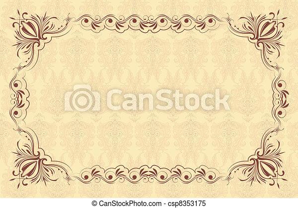 floral, vendange, cadre - csp8353175