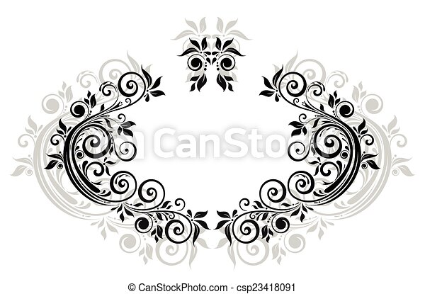 floral, vendange, cadre, noir - csp23418091