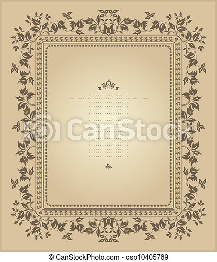 Un marco de vinculo con adornos florales - csp10405789