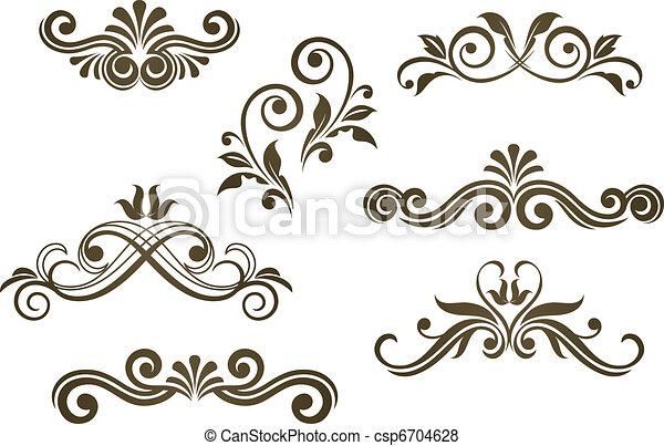 Motivos florales antiguos - csp6704628