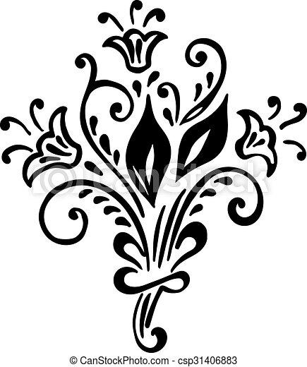 floral, vendimia, plano de fondo, flower., patrón - csp31406883