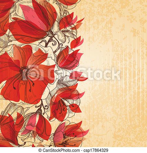floral, vendimia, plano de fondo, textura, cartón - csp17864329