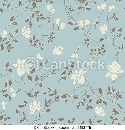 Patrón de cosecha floral sin costura - csp8493775