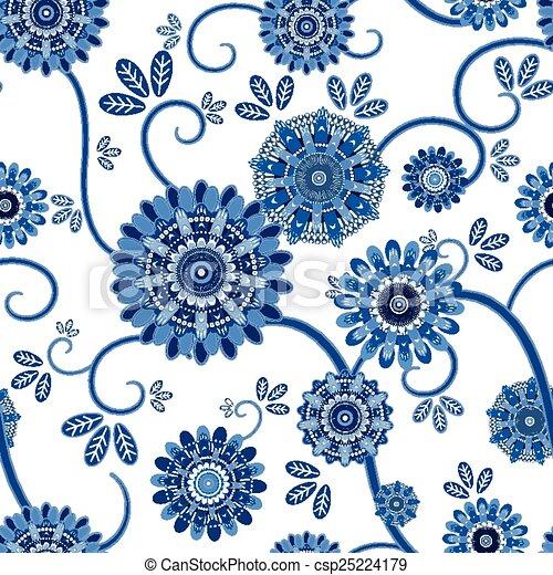 Un antiguo patrón floral sin costura - csp25224179