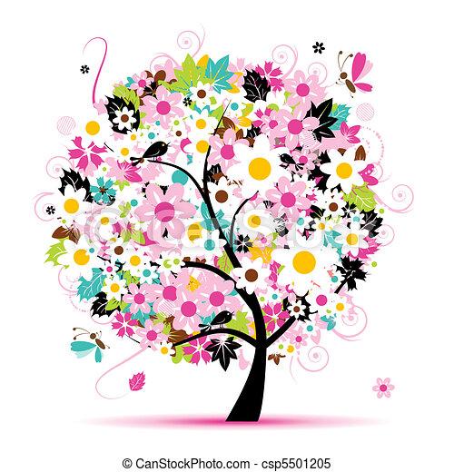 floral, verão, desenho, árvore, seu - csp5501205