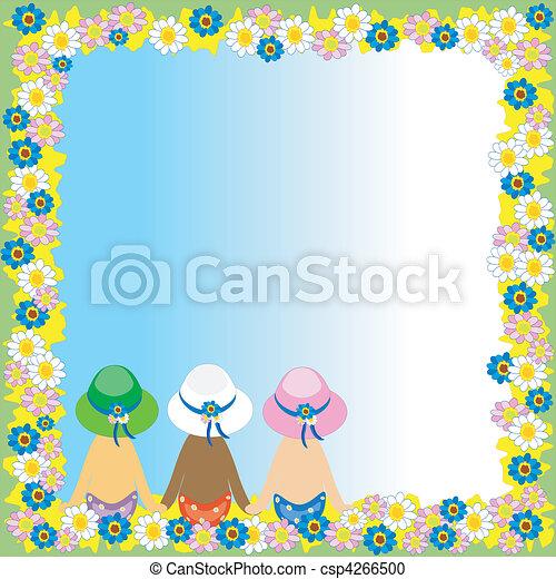 Floral, verano, marco, niñas, espalda. Espalda, verano, marco, niñas ...