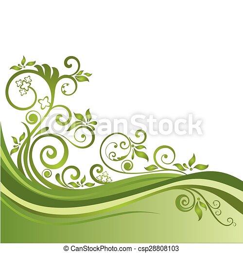 floral, verde, bandera, aislado - csp28808103