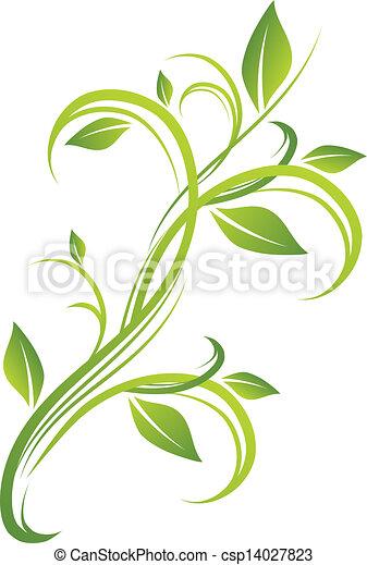 floral, verde, desenho - csp14027823