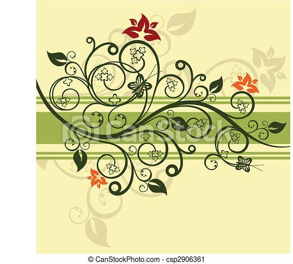 floral, verde, vetorial, desenho, ilustração - csp2906361