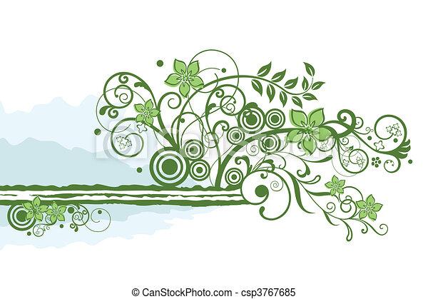 floral, vert, frontière, élément - csp3767685