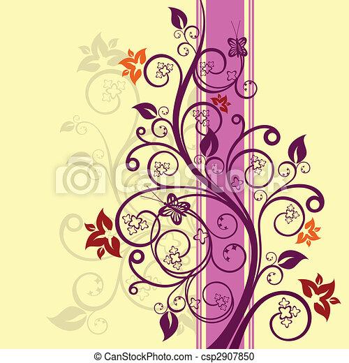 floral, vetorial, desenho, ilustração - csp2907850