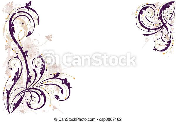 floral, vetorial, grunge, fundo - csp3887162