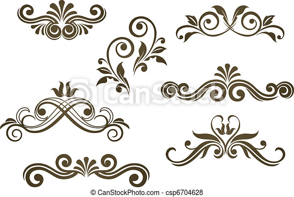 floral, vindima, arabescos - csp6704628