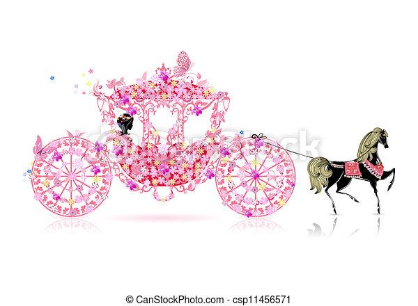 floral, vindima, carruagem - csp11456571