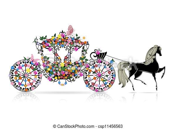 floral, vindima, carruagem - csp11456563