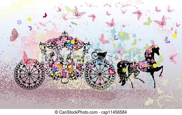 floral, vindima, carruagem - csp11456584