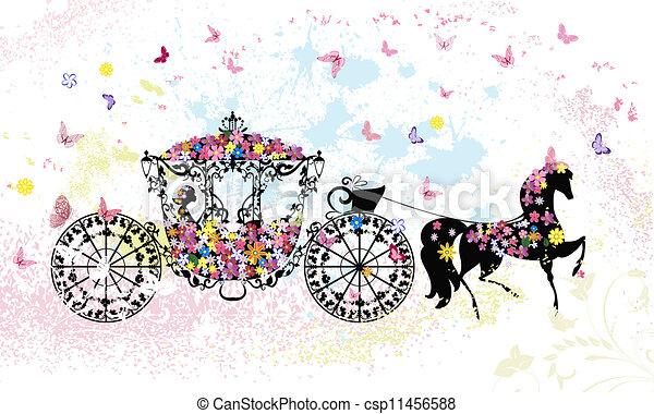 floral, vindima, carruagem - csp11456588