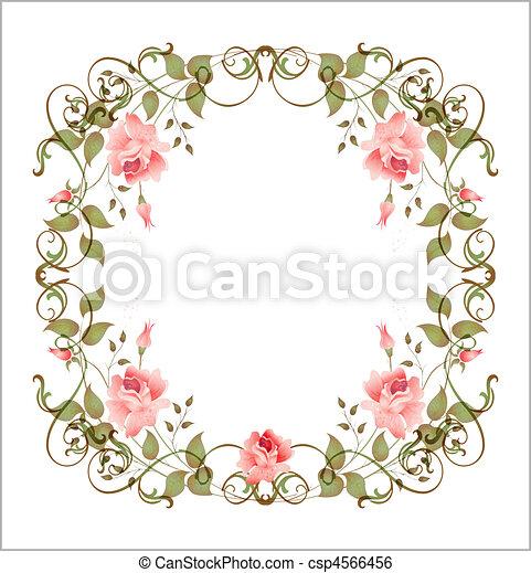 floral, vindima, quadro - csp4566456