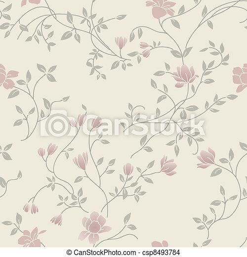 floral, vindima, seamless, padrão - csp8493784