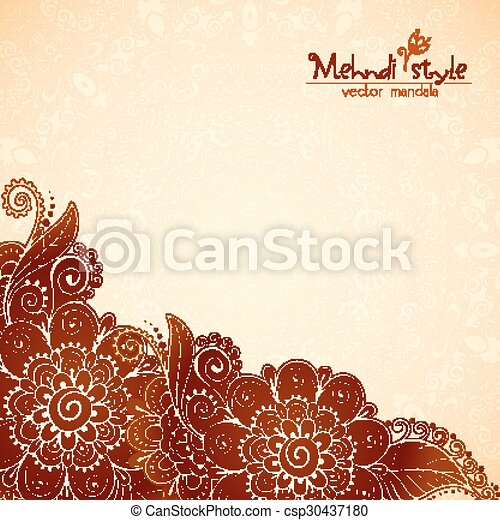 Floral vintage ethnic background in Indian mehndi style - csp30437180