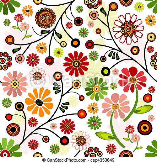 Floral vivid seamless pattern - csp4353649