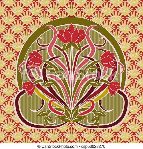 Floral Wallpaper In Art Nouveau Style Vector Illustration