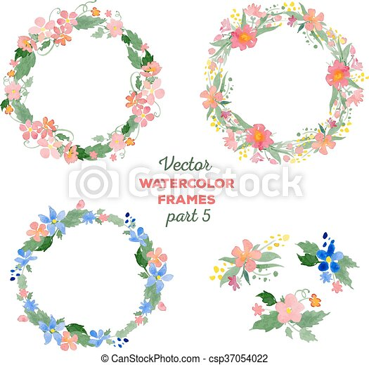 Floral Watercolor Wreaths Frames Bouquets Great For Wedding