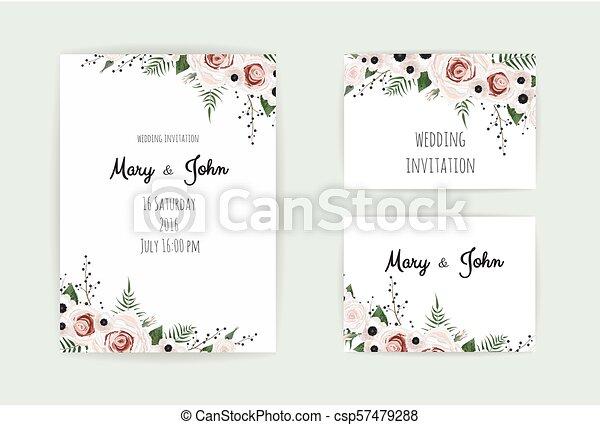 Floral Wedding Invitation Botanical Card Vector Design Garden Pink Peach Rose Flower Anemones Green Eucalyptus Tender Greenery