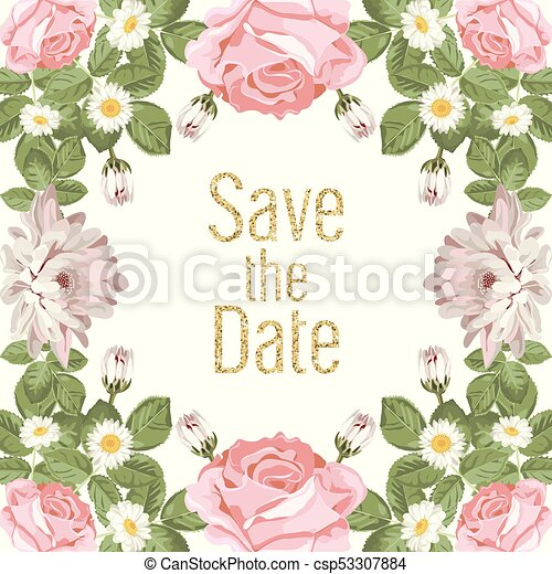Floral Wedding Invitation Card Template With Text