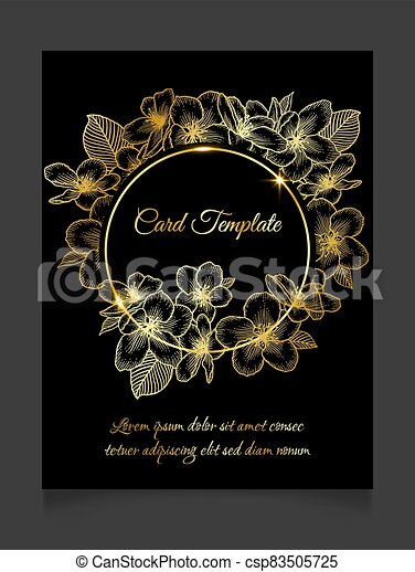 Floral Wedding Invitation Dark Golden Elegant Card Template Floral Botanical Wedding Invitation Dark Elegant Card Template Canstock
