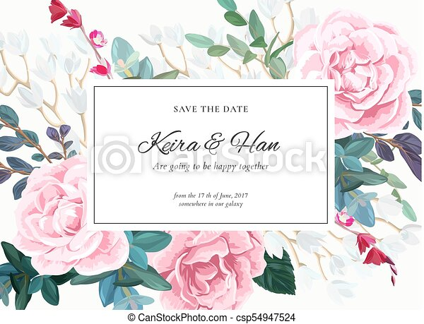 Floral Wedding Invitation Design With Pale Pink Roses On The White Background Romantic Vector