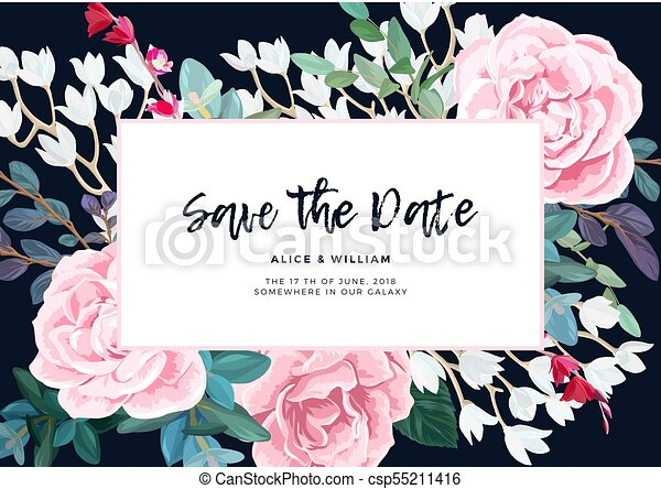 Floral Wedding Invitation Design With Pale Pink Roses On The Dark Background Romantic Vector Design