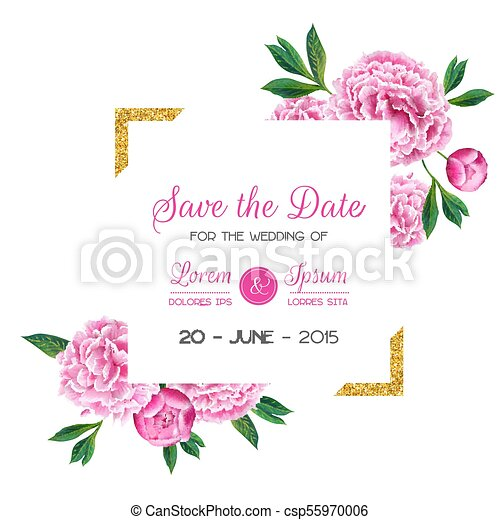 Floral wedding invitation save the date card with blooming pink floral wedding invitation save the date card with blooming pink peony flowers and golden frame junglespirit Image collections