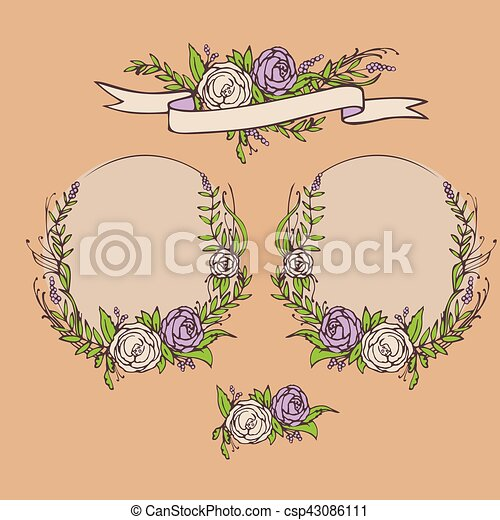 Floral wedding invitation, save the date. Flower vintage card with laurel. Bride and groom getting married - csp43086111