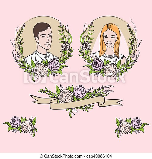 Floral wedding invitation, save the date. Flower vintage card with laurel. Bride and groom getting married - csp43086104