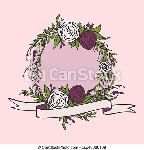 Floral wedding invitation, save the date. Flower vintage card with laurel. Bride and groom getting married - csp43086109