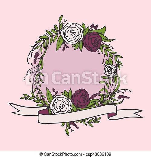 Floral wedding invitation save the date flower vintage vector floral wedding invitation save the date flower vintage card with laurel bride and stopboris Choice Image