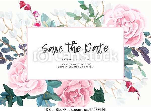 Floral Wedding Invitation With Pink Roses On White Background Horizontal RSVP Or Save The Date Template Classic Vector Design