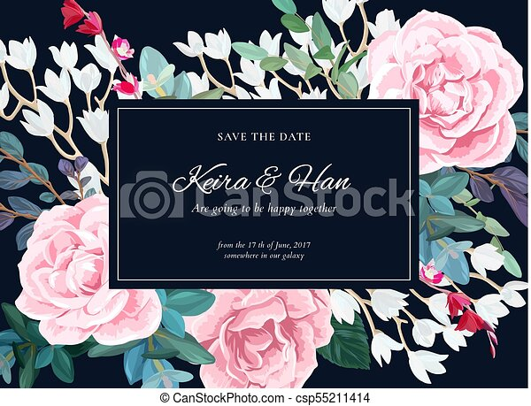 Floral Wedding Invitation With Pink Roses On Dark Background Horizontal RSVP Or Save The Date Template Classic Vector Design