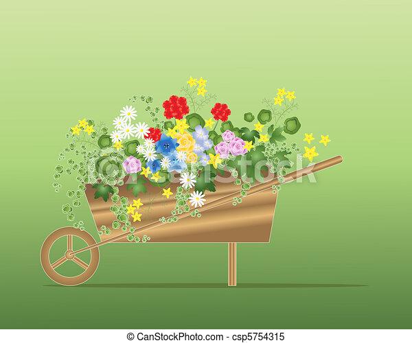 floral wheelbarrow - csp5754315