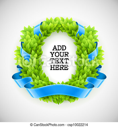 floral wreath of green leaves with blue ribbon - csp10022214