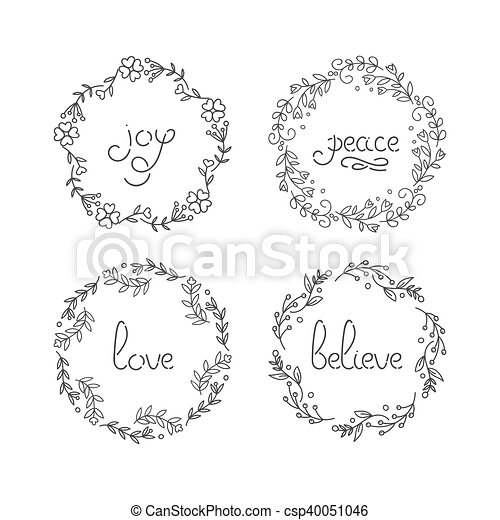 Floral wreath set. line lettering. greeting typography. joy, peace ...
