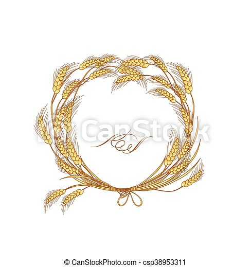 Floral wreath with wheat - csp38953311