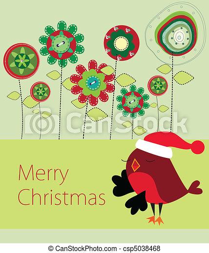 Floral Xmas greeting card - csp5038468